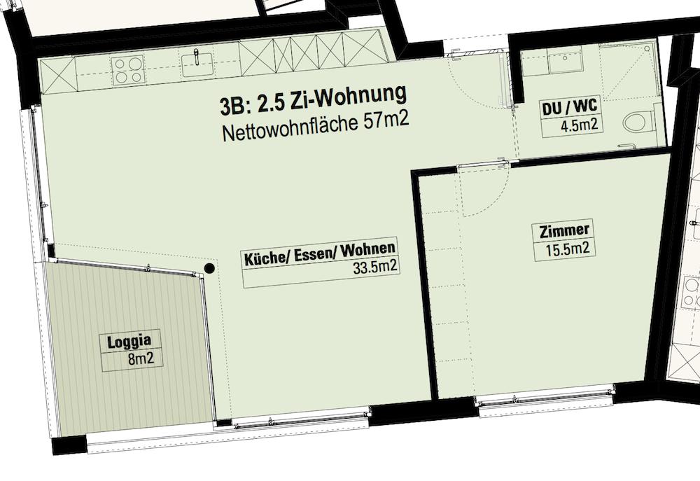 2.5-Zimmer-Wohnung Im 3. OG (3B)